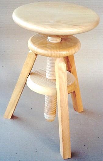 Tabouret - Tabouret en bois reglable en hauteur ...